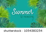 tropical background summer... | Shutterstock . vector #1054383254