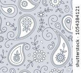 paisleyand flowers seamless...   Shutterstock .eps vector #1054384121