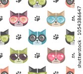 pattern with cats with... | Shutterstock .eps vector #1054386647