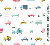 seamless pattern with cute cars.... | Shutterstock .eps vector #1054387814