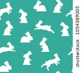 seamless pattern with bunny... | Shutterstock . vector #1054389005