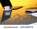 collage with business papers on ...   Shutterstock . vector #105438929