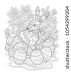 outline easter bunny decorated... | Shutterstock .eps vector #1054399304
