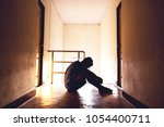 silhouetted of sad photo.... | Shutterstock . vector #1054400711