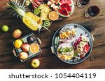3 smoothie bowls with colorful... | Shutterstock . vector #1054404119