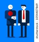 two office workers talking to... | Shutterstock .eps vector #1054407869