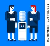 two office women talking to... | Shutterstock .eps vector #1054407881