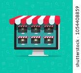 marketplace online store vector ... | Shutterstock .eps vector #1054408859