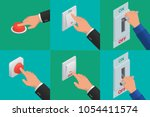 set of realistic vector hands... | Shutterstock .eps vector #1054411574