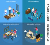 family problems isometric... | Shutterstock .eps vector #1054418921