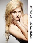 beautiful blond girl posing - stock photo