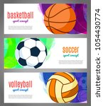 banners with sports balls  ...   Shutterstock .eps vector #1054430774