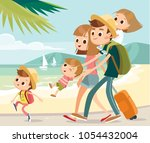 happy family on vacation by the ... | Shutterstock .eps vector #1054432004