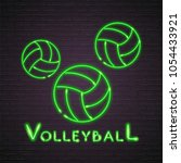 volleyball balls neon light... | Shutterstock .eps vector #1054433921