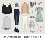 women's clothing collection....   Shutterstock .eps vector #1054444145