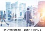 many business people walking ... | Shutterstock . vector #1054445471