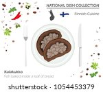 Finnish Cuisine. European national dish collection. Fish baked inside a loaf of bread  isolated on white, infographic. Vector illustration