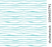 Abstract lines waves seamless pattern. Striped minimalistic monochrome background. Ocean, sea water. Vector wavy decorative texture for textile prints, covers, wallpaper, wrapping paper, scrapbooking. | Shutterstock vector #1054455791