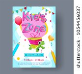 kids zone  party flyer  banner... | Shutterstock .eps vector #1054456037