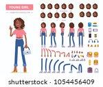young  african american girl... | Shutterstock .eps vector #1054456409