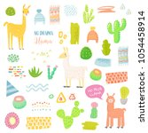 llamas childish elements set... | Shutterstock .eps vector #1054458914