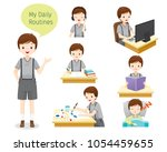 the daily routines of boy ... | Shutterstock .eps vector #1054459655