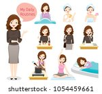 the daily routines of woman ... | Shutterstock .eps vector #1054459661