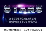 retro alphabet font. sci fi... | Shutterstock .eps vector #1054460021