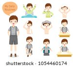 the daily routines of boy ... | Shutterstock .eps vector #1054460174