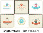 happy birthday greeting cards... | Shutterstock .eps vector #1054461371