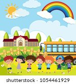 students playing at the school... | Shutterstock .eps vector #1054461929