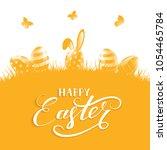 orange background with easter...   Shutterstock . vector #1054465784
