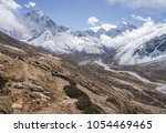 Small photo of Ama Dablam summit and Pheriche valley. Everest base camp trek in Himalayas, Nepal