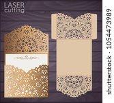 die laser cut wedding card... | Shutterstock .eps vector #1054473989
