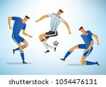 football players in action.... | Shutterstock .eps vector #1054476131