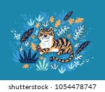 cute cartoon tiger in the... | Shutterstock .eps vector #1054478747