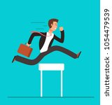 businessman jumping over... | Shutterstock .eps vector #1054479539