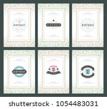happy birthday greeting cards... | Shutterstock .eps vector #1054483031