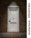 closed white vintage door in... | Shutterstock . vector #1054491341