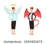 businesswoman in angel and... | Shutterstock .eps vector #1054502675