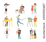 happy people of art and music.... | Shutterstock .eps vector #1054502687