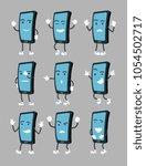 cartoon smartphone in various... | Shutterstock .eps vector #1054502717