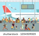 international airport terminal... | Shutterstock .eps vector #1054509005