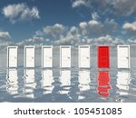 Sigle Red Door Among Several...