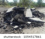 old cracked asphalt road scrap...   Shutterstock . vector #1054517861