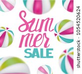 summer sale with unflatable...   Shutterstock .eps vector #1054520624