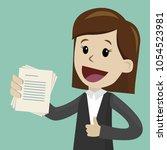 businesswoman has a lot of jobs.... | Shutterstock .eps vector #1054523981