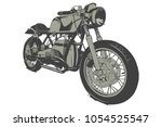 vintage custom motorcicle...   Shutterstock .eps vector #1054525547
