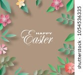vector easter day paper cut.for ... | Shutterstock .eps vector #1054536335