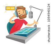 female radio dj working in... | Shutterstock .eps vector #1054540124